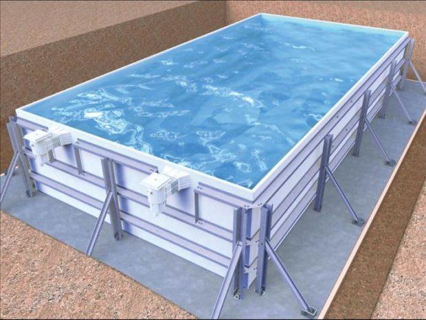 La piscine en kit panneaux acier r aliser soi m me le for Construction piscine enterree